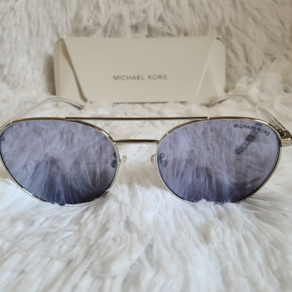 New with Tag Michael Kors Silver Sunglasses w/ Lilac Lens